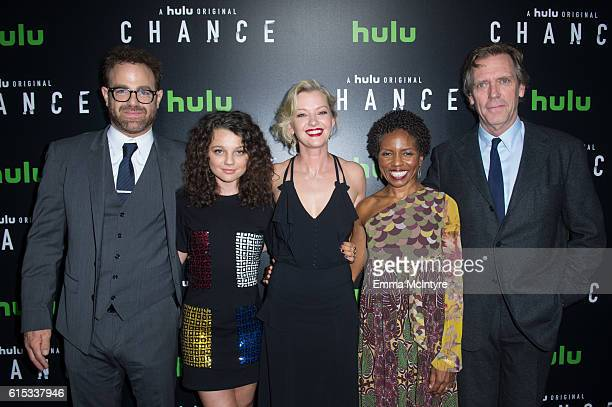 Actors Paul Adelstein Stefania La Vie Owen Gretchen Mol LisaGay Hamilton and Hugh Laurie arrive at the premiere of Hulu's 'Chance' at Harmony Gold...