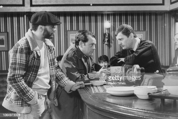 Actors Paul Barber David Jason and Kenneth MacDonald in a pub scene from episode 'Danger UXD' of the television sitcom 'Only Fools and Horses'...