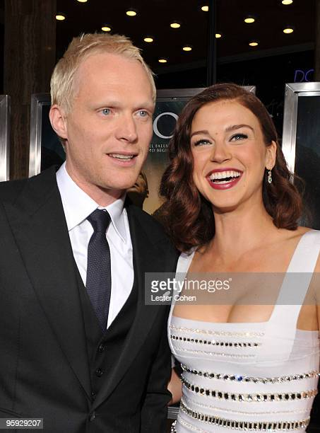 Actors Paul Bettany and Adrianne Palicki attend the 'Legion' Los Angeles premiere at ArcLight Cinemas Cinerama Dome on January 21 2010 in Hollywood...