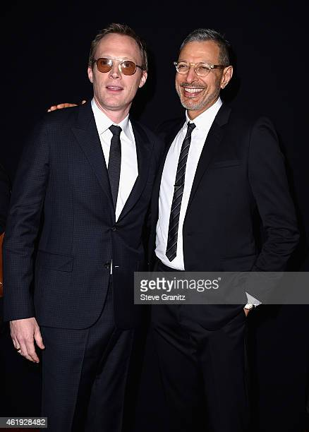 "Actors Paul Bettany and Jeff Goldblum attend the premiere of Lionsgate's ""Mortdecai"" at TCL Chinese Theatre on January 21, 2015 in Hollywood,..."