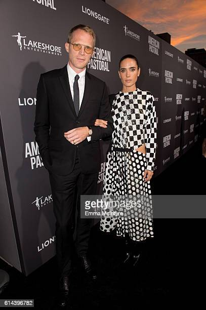 Actors Paul Bettany and Jennifer Connelly arrive at the premiere of Lionsgate's 'American Pastoral' on October 13 2016 in Beverly Hills California