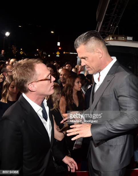 Actors Paul Bettany and Josh Brolin attend the premiere of Columbia Pictures' Only The Brave at the Regency Village Theatre on October 8 2017 in...