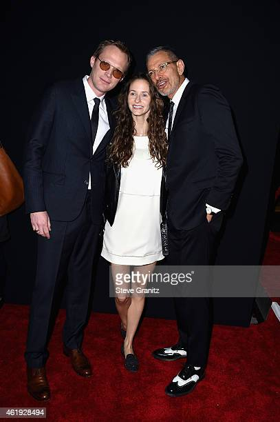 "Actors Paul Bettany, Emilie Livingston and Jeff Goldblum attend the premiere of Lionsgate's ""Mortdecai"" at TCL Chinese Theatre on January 21, 2015 in..."