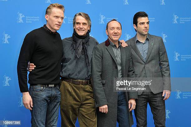 Actors Paul Bettany Jeremy Irons Kevin Spacey and Zachary Quinto attend the 'Margin Call' Photocall during day two of the 61st Berlin International...