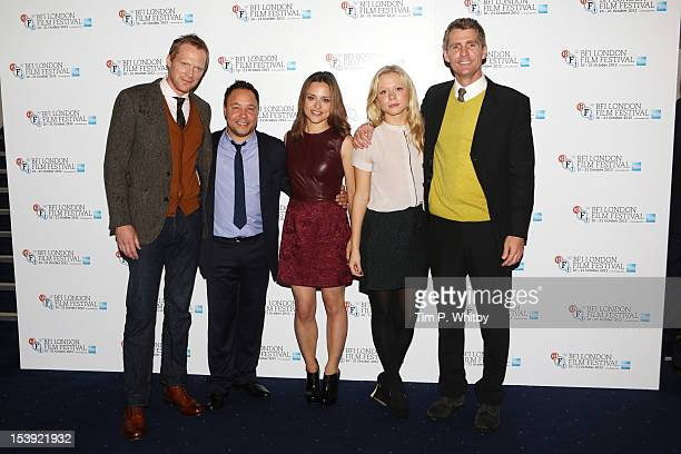 Actors Paul Bettany Stephen Graham Zoe Tapper Naomi Battrick and director Nick Murphy attend the premiere of 'Blood' during the 56th BFI London Film...