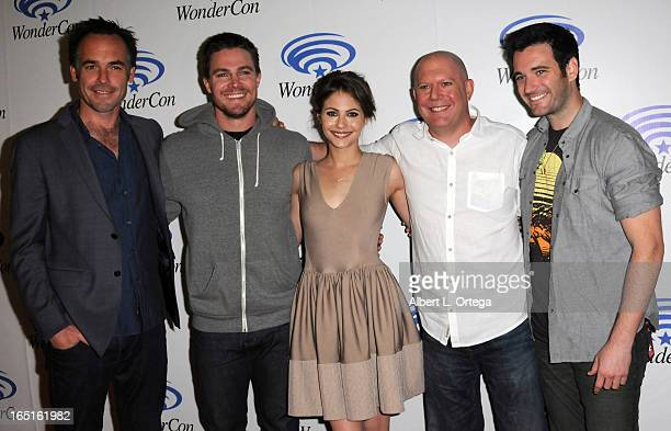 Actors Paul Blackthorne Stephen Amell Willa Holland Mac Guggenheim Colin Donnell promote the WB's Arrow at WonderCon Anaheim 2013 Day 3 held at...