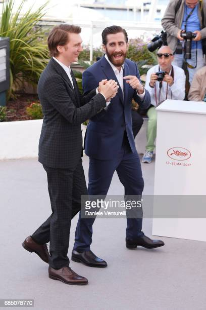 Actors Paul Dano and Jake Gyllenhaal attend the 'Okja' photocall during the 70th annual Cannes Film Festival at Palais des Festivals on May 19 2017...