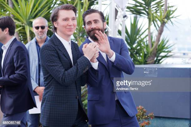 Actors Paul Dano and Jake Gyllenhaal attend the Okja photocall during the 70th annual Cannes Film Festival at Palais des Festivals on May 19 2017 in...