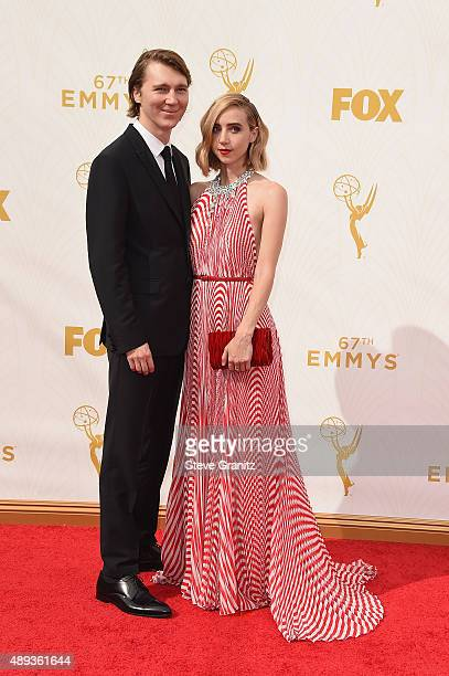 Actors Paul Dano and Zoe Kazan attend the 67th Annual Primetime Emmy Awards at Microsoft Theater on September 20 2015 in Los Angeles California