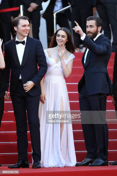 Actors Paul Dano Lily Collins and Jake Gyllenhaal attend the 'Okja' screening during the 70th annual Cannes Film Festival at Palais des Festivals on...
