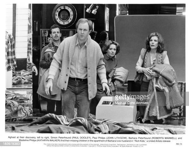 Actors Paul Dooley and John Lithgow with actresses Roberta Maxwell and Kathryn Walker on set for the United Artists movie 'Rich Kids' in 1979