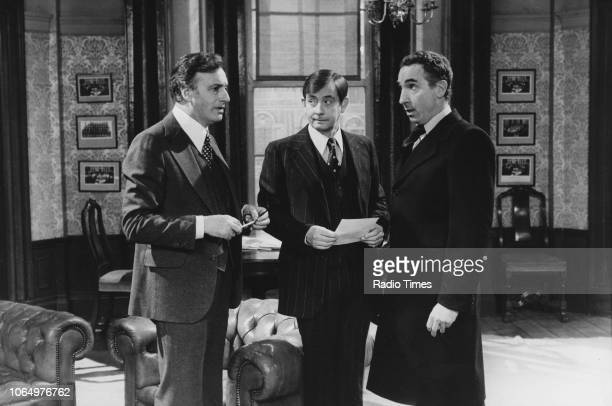 Actors Paul Eddington Derek Fowlds and Nigel Hawthorne in a scene from episode the television sitcom 'Yes Minister' February 4th 1979