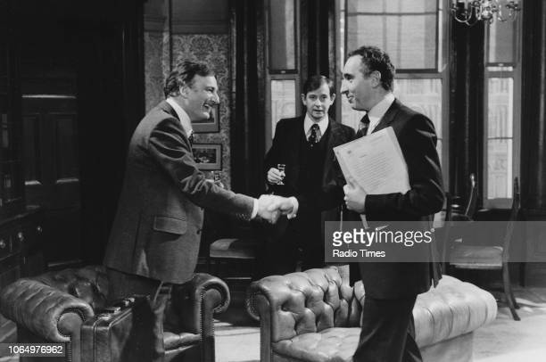 Actors Paul Eddington Derek Fowlds and Nigel Hawthorne in a scene from the television sitcom 'Yes Minister' February 4th 1979