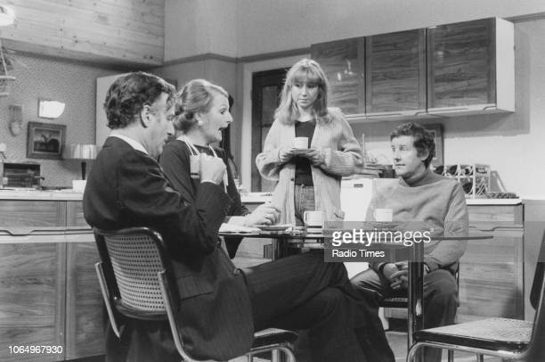 Actors Paul Eddington Penelope Keith Felicity Kendal and Richard Briers in a scene from the television sitcom 'The Good Life' circa 1976
