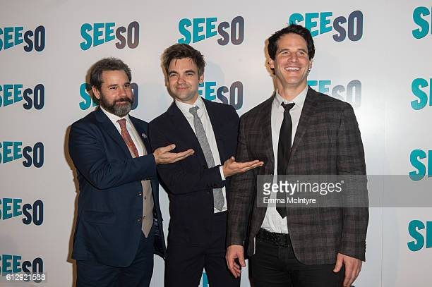 Actors Paul F Tompkins Drew Tarver and Ryan Gaul arrive at the Seeso original screening of 'Bajillion Dollar Properties' season 2 at Ace Hotel on...