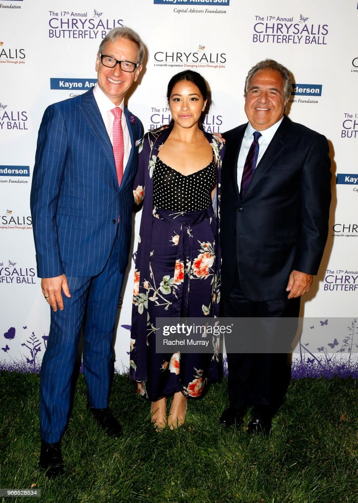 Actors Paul Feig and Gina Rodriguez, and honoree Jim Gianopulos at the 17th Annual Chrysalis Butterfly Ball sponsored by Kayne Anderson Capital Advisors Foundation on June 2, 2018.