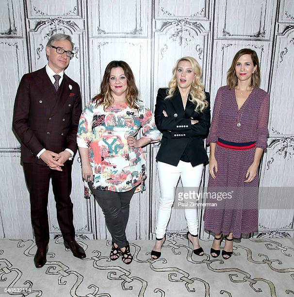 Actors Paul Feig Melissa McCarthy Kate McKinnon and Kristen Wiig at AOL HQ on July 12 2016 in New York City
