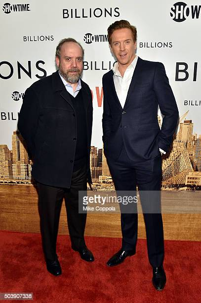 """Actors Paul Giamatti and Damian Lewis attend the Showtime series premiere of """"Billions"""" at The New York Museum Of Modern Art on January 7, 2016 in..."""