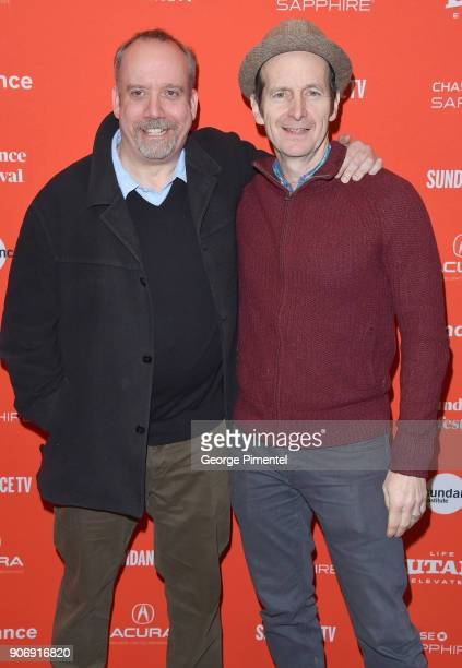 Actors Paul Giamatti and Denis O'Hare attend the 'Private Life' Premiere during the 2018 Sundance Film Festival at Eccles Center Theatre on January...