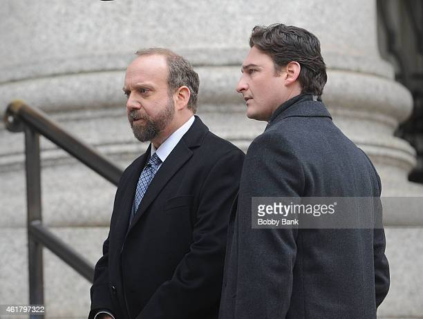 Actors Paul Giamatti and Toby Moore on the set of the Showtime pilot 'Billions' on January 19 2015 in New York City