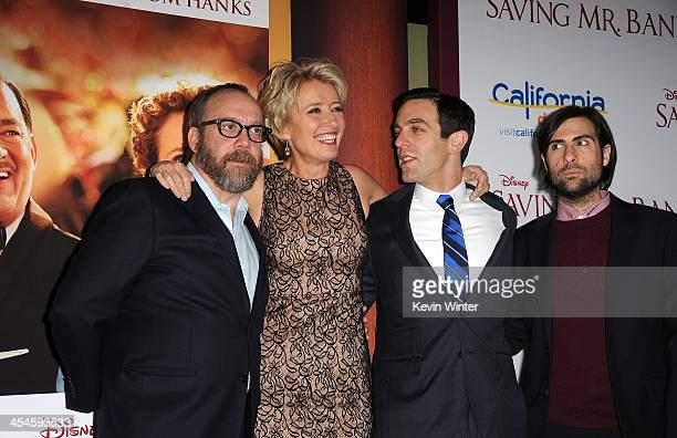 Actors Paul Giamatti Emma Thompson BJ Novak and Jason Schwartzman attend the US premiere of Disney's Saving Mr Banks the untold backstory of how the...