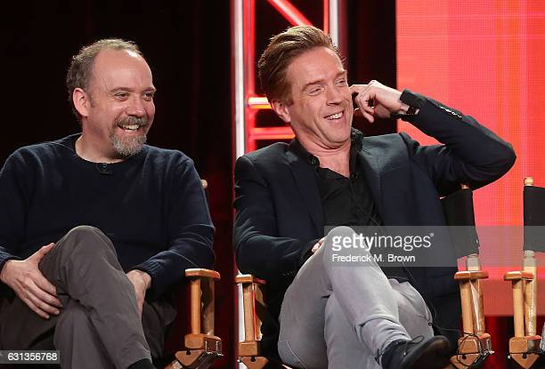 Actors Paul Giamatti left and Damian Lewis of the television show 'Billions' speak onstage during the Showtime portion of the 2017 Winter Television...