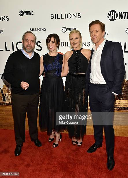 Actors Paul Giamatti Maggie Siff Malin Akerman and Damian Lewis attend the Showtime series premiere of Billions at The New York Museum Of Modern Art...