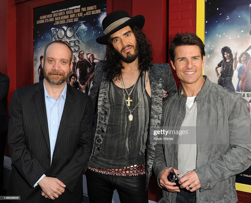 Actors Paul Giamatti, Russell Brand and Tom Cruise arrive at the premiere of Warner Bros. Pictures' 'Rock of Ages' at Grauman's Chinese Theatre on June 8, 2012 in Hollywood, California.