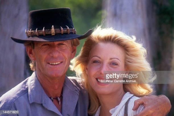 Actors Paul Hogan and Linda Kozlowski on the set of their new film 'Crocodile Dundee II' in 1987 in the Northern Territory, Australia.