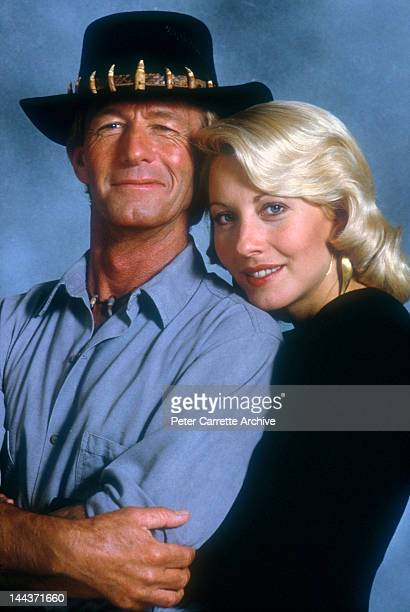 Actors Paul Hogan and Linda Kozlowski on the set of their new film 'Crocodile Dundee II' in 1987 in the Northern Territory Australia