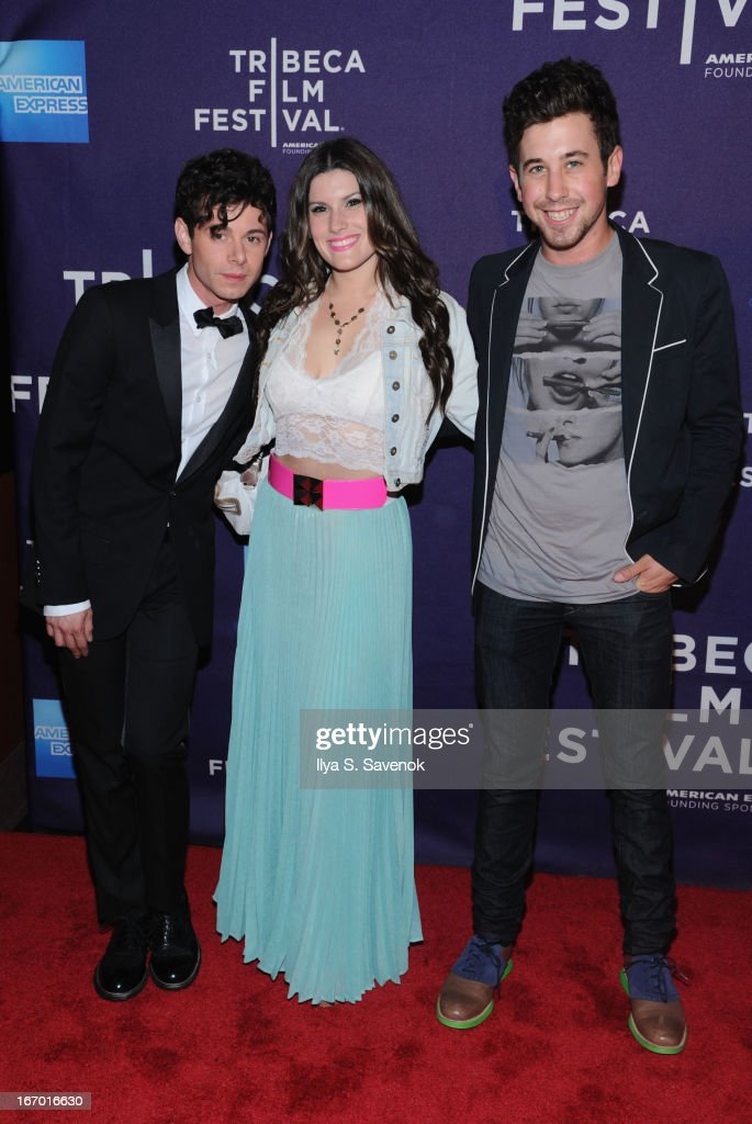 Actors Paul Iacono (L) poses with guests at the 'G.B.F.' world premiere during the 2013 Tribeca Film Festival on April 19, 2013 in New York City.