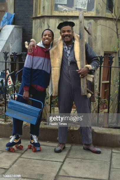 Actors Paul J Medford and Oscar James pictured on the exterior set of the BBC soap opera 'EastEnders' April 5th 1991