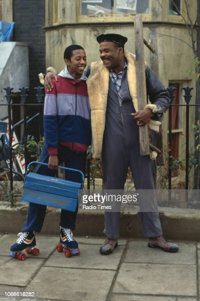 Actors Paul J Medford and Oscar James pictured on the exterior set of the BBC soap opera 'EastEnders', April 5th 1991.