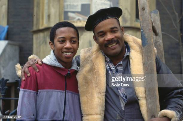 Actors Paul J Medford and Oscar James pictured on the exterior set of the BBC soap opera 'EastEnders', November 21st 1984.