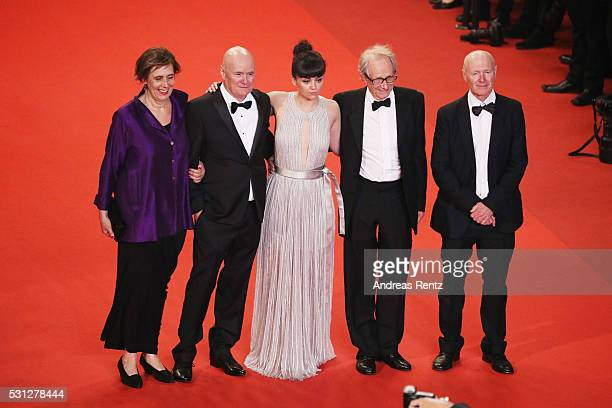 Actors Paul Laverty Dave Johns actress Hayley Squires director Ken Loach and actress Rebecca O'Brien attend the 'I Daniel Blake' premiere during the...