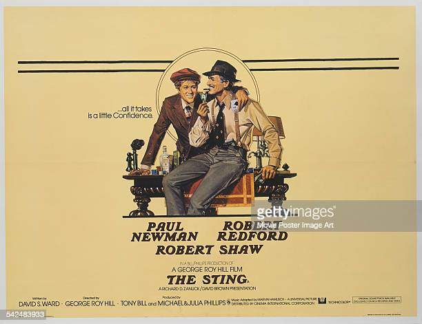 Actors Paul Newman and Robert Redford appear on the poster for the Universal Pictures film 'The Sting', 1973. The film was directed by George Roy...