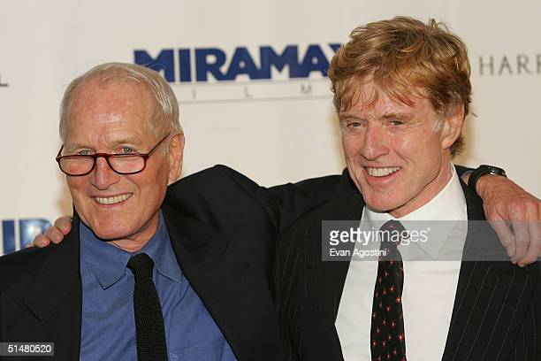 Actors Paul Newman and Robert Redford attend the the Westport Country Playhouse gala benefit dinner at the Hyatt Regency October 14, 2004 in...