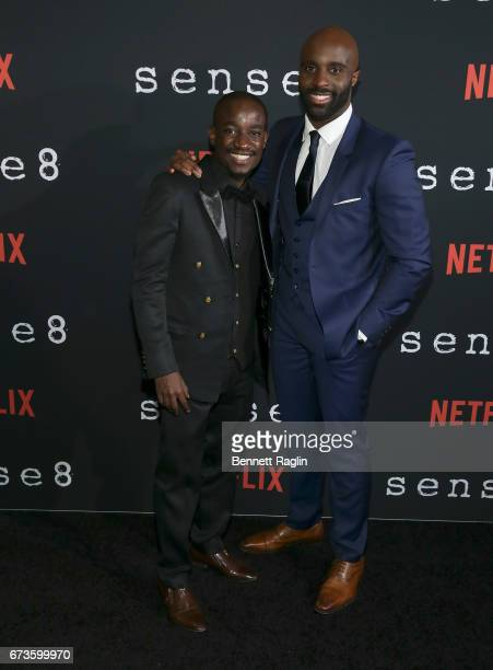 Actors Paul Ogola and Toby Onwumere attend the Sense8 New York premiere at AMC Lincoln Square Theater on April 26 2017 in New York City