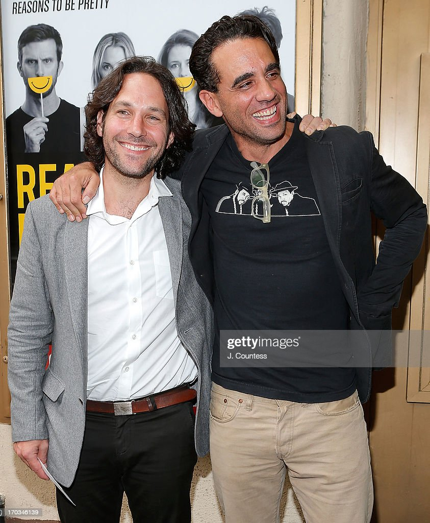 Actors Paul Rudd and Bobby Cannavale attend the 'Reasons To Be Happy' Broadway Opening Night at Lucille Lortel Theatre on June 11, 2013 in New York City.