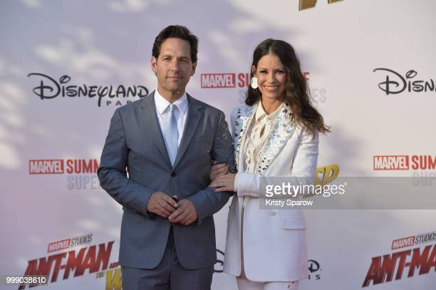Actors Paul Rudd and Evangeline Lilly attend the European Premiere of Marvel Studios 'AntMan And The Wasp' at Disneyland Paris on July 14 2018 in...