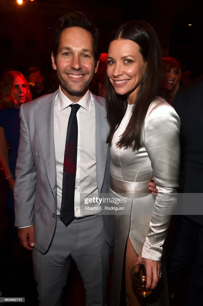 Actors Paul Rudd (L) and Evangeline Lilly attend the Los Angeles Global Premiere for Marvel Studios' 'Ant-Man And The Wasp' at the El Capitan Theatre on June 25, 2018 in Hollywood, California.