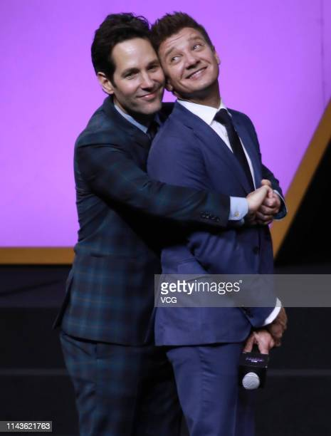 Actors Paul Rudd and Jeremy Renner attend 'Avengers Endgame' premiere at Shanghai Oriental Sports Center on April 18 2019 in Shanghai China