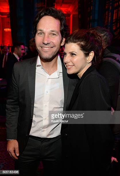 Actors Paul Rudd and Marisa Tomei attend the after party of the New York premiere of 'Vinyl' at Ziegfeld Theatre on January 15 2016 in New York City