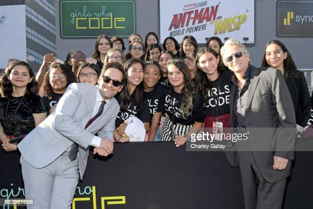Actors Paul Rudd and Michael Douglas and Girls Who Code attend the Los Angeles Global Premiere for Marvel Studios' 'AntMan And The Wasp' at the El...