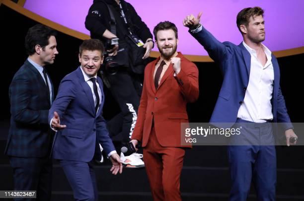 Actors Paul Rudd Jeremy Renner Chris Evans and Chris Hemsworth attend 'Avengers Endgame' premiere at Shanghai Oriental Sports Center on April 18 2019...