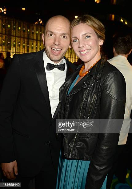 Actors Paul Scheer and June Diane Raphael attend HBO's official Emmy after party at The Plaza at the Pacific Design Center on September 22 2013 in...