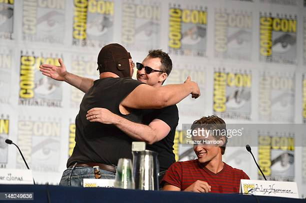 Actors Paul Schrier Jason Narvy and Alex Heartman attend Power Rangers 20 Years and Beyond during ComicCon International 2012 held at the Hilton San...