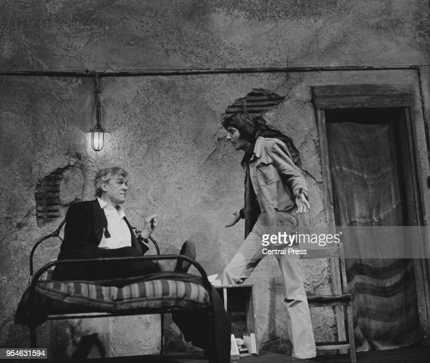 Actors Paul Scofield as Alan West and Tom Conti as Carlos Esquerdo during a rehearsal for the play 'Savages' by Christopher Hampton at the Royal...