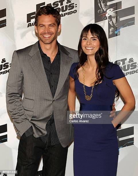 Actors Paul Walker and Jordana Brewster attends Fast and Furious photocall at the Santo Mauro Hotel on March 25 2009 in Madrid Spain