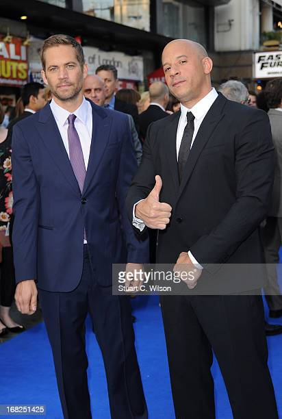"""Actors Paul Walker and Vin Diesel attends the """"Fast & Furious 6"""" World Premiere at The Empire, Leicester Square on May 7, 2013 in London, England."""